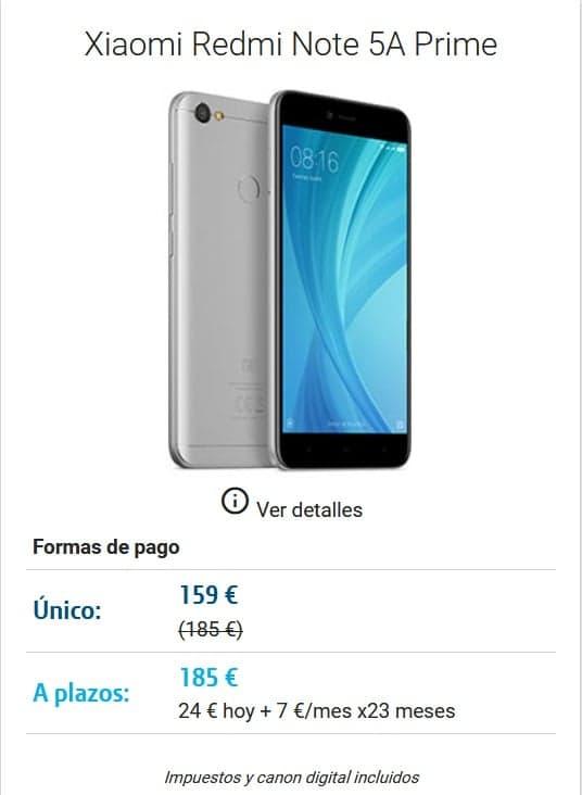 DIGI mobil Lorca Movil Xiaomi Redmi Note 5A Prime