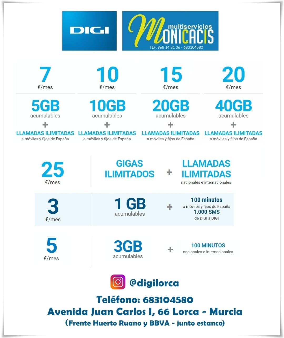 las mejores tarifas móviles solo en DigiMobilLorca